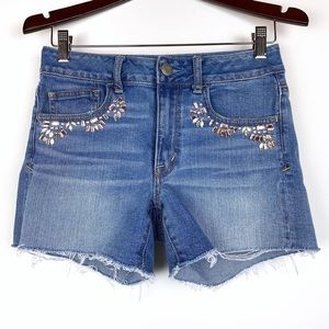 AMERICAN EAGLE Cut Off Jeweled Jean Shorts 6